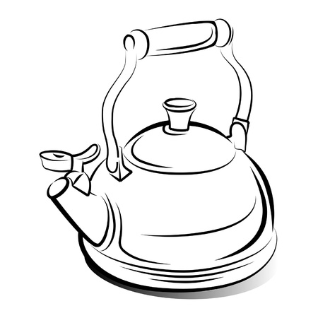 drawing of the teapot kettle on white background  Illustration