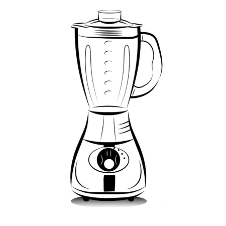 Drawing black and white kitchen blender.  Vector