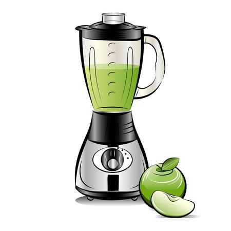 Batidora de cocina de color plano con zumo de manzana. Ilustración de vector