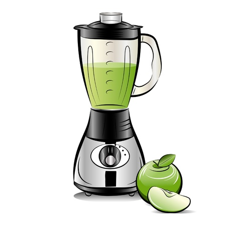 smoothie: Drawing color kitchen blender with Apple juice.
