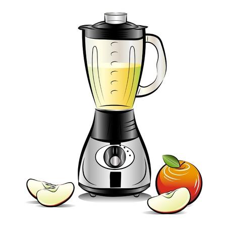Batidora de cocina de color plano con zumo de manzana.