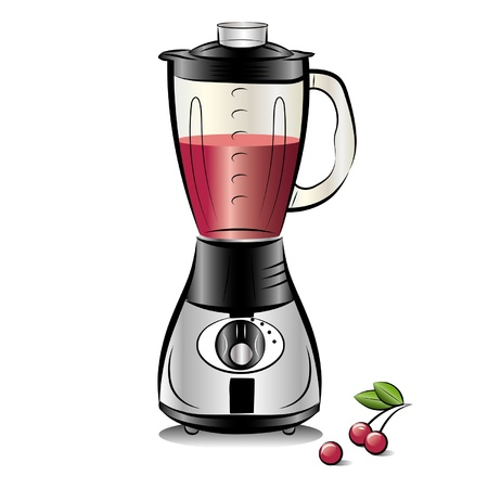 Drawing color kitchen blender with Cherry juice. Vector