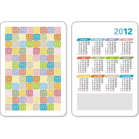 Vector template of 2012 calendar Ilustrace