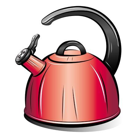 kettles: dibujo de la caldera de tetera rojo sobre fondo blanco, vector de ilustración Vectores