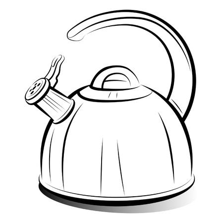 tea kettle: drawing teapot kettle on white background, vector illustration