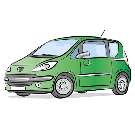 Drawing of the small green car. Illustration