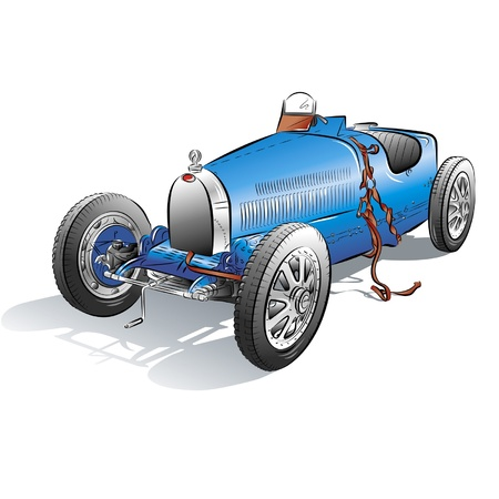 Drawing of the retro blue car. Vetores