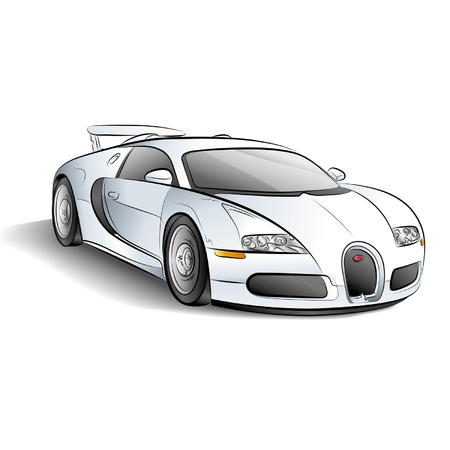 Drawing of the white expensive car. Illustration