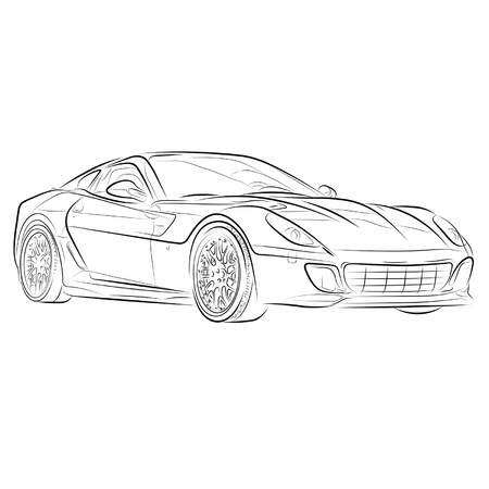 Drawing of the expensive car. Stock Vector - 10577075