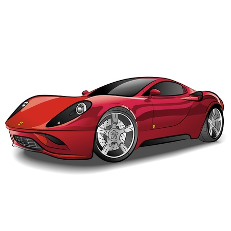 Drawing of the red expensive car. Illustration