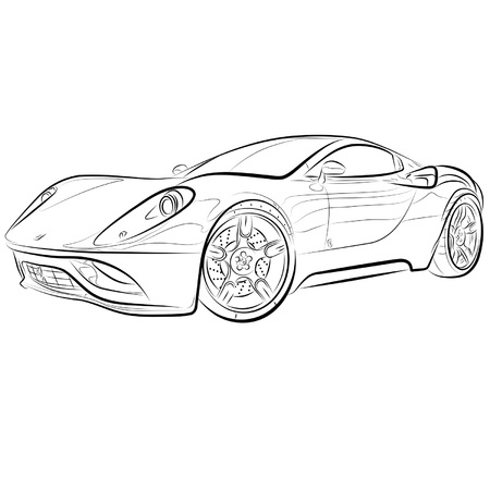 Drawing of the expensive car. Stock Vector - 10577073