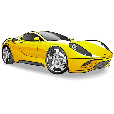 Drawing of the yellow expensive car. Illustration