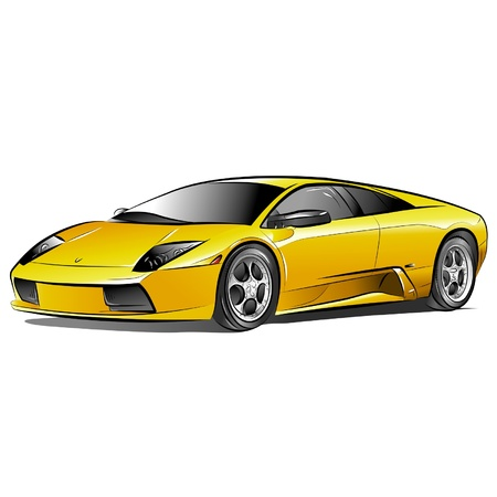 Drawing of the yellow expensive car. Stock Vector - 10577083