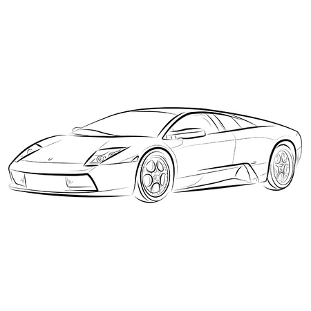 Drawing of the expensive car. Vector