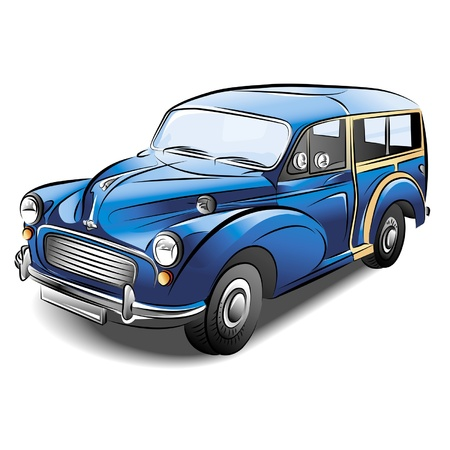 clipart street light: Drawing of the retro blue car.