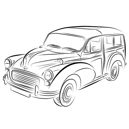 Drawing of the car. Vector
