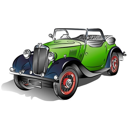 clipart street light: Drawing of the retro green car.