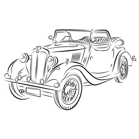 Drawing of the retro car. Illustration