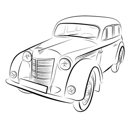 Drawing of the retro car. Illustration