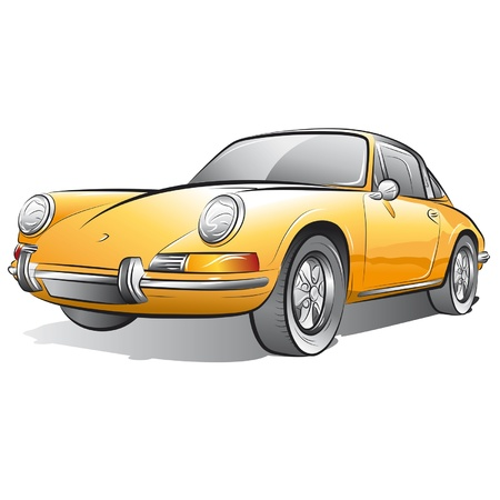 clipart street light: Drawing of the yellow expensive car. Illustration
