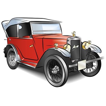 reise retro: Zeichnung der Retro rotes Auto. Illustration