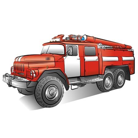 voiture de pompiers: Dessin de la couleur russe feu moteur. Illustration