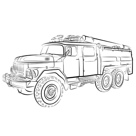 voiture de pompiers: Dessin de la Russie au feu du moteur.