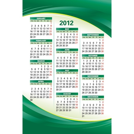 Vector template of 2012 calendar on green background Vector