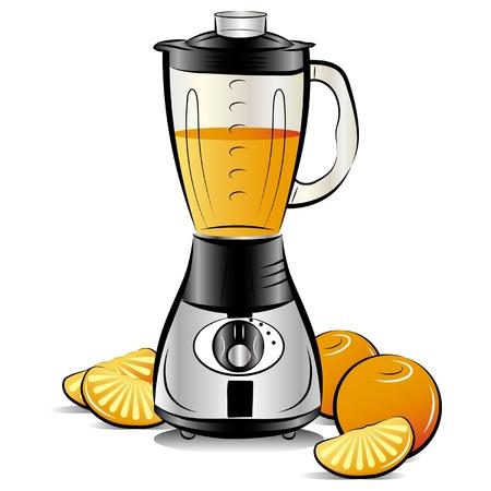 Dibujo licuadora color de la cocina con el jugo de naranja. Ilustración vectorial
