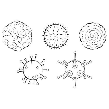 microcosmic: Influenza viruses. Black and white vector illustration