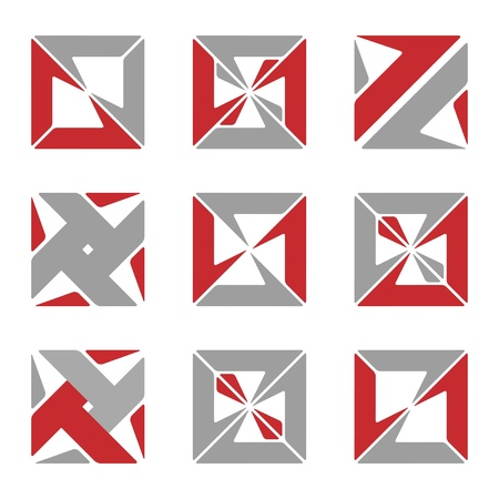 Set of different abstract square symbols for design Vector
