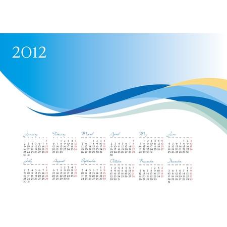 Vector template of 2012 calendar on blue background