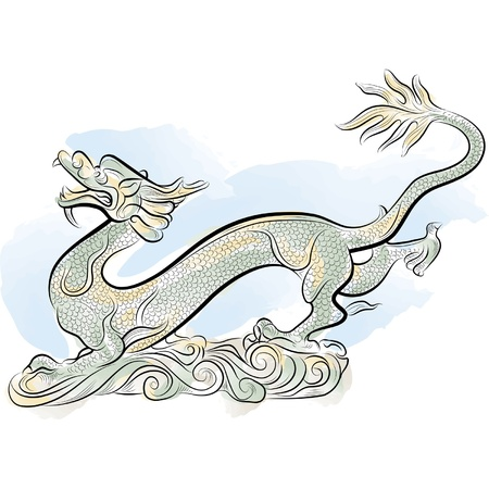 eastern zodiac: Old Chinese Traditional Dragon, vector illustration
