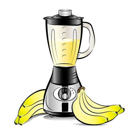fruit smoothie: Drawing color kitchen blender with Bananas juice Illustration