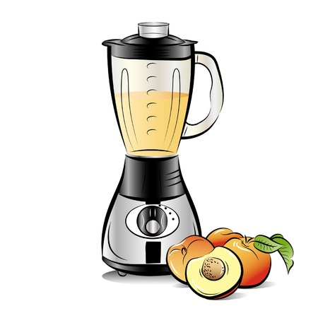 Drawing color kitchen blender with Peach juice Illustration
