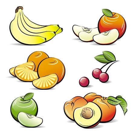 Drawing set of different color fruits