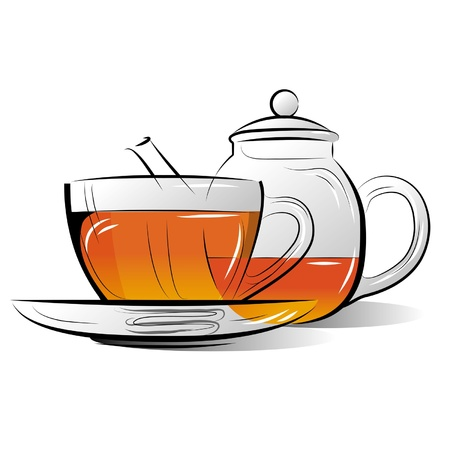 Drawing Teapot and cup of tea on a white background Illustration