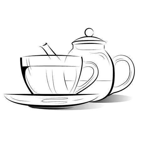 afternoon: Dibujo tetera y una taza de t� en un fondo blanco Vectores