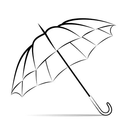 Drawing umbrella on white background
