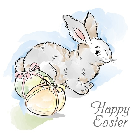 Easter card with rabbit and two eggs