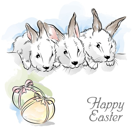 Easter card with three rabbits and two eggs Illustration