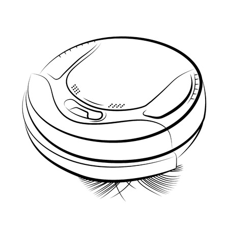 Drawing of the robotic vacuum cleaner, vector illustration