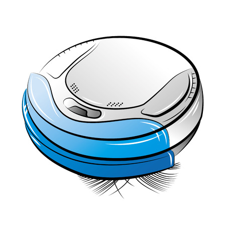 Drawing of the blue robotic vacuum cleaner, vector illustration Illustration