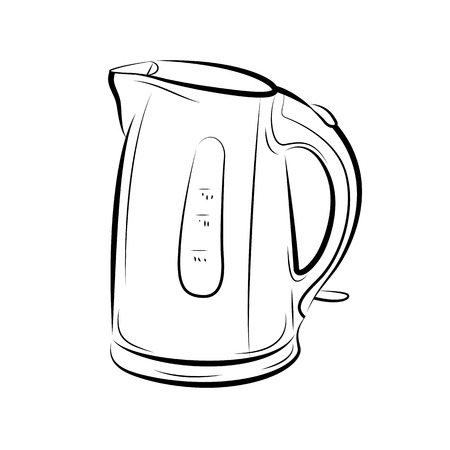 Drawing of the teapot kettle, vector illustration Illustration