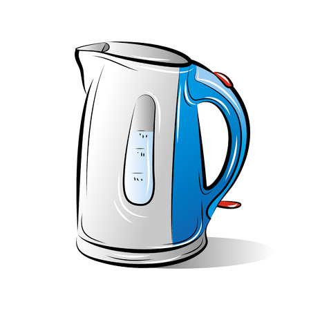 Drawing of the blue teapot kettle, vector illustration