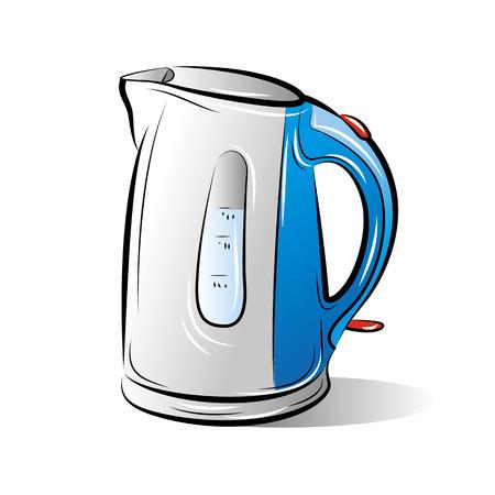 Tekening van de blauwe theepot waterkoker, vectorillustratie