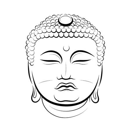 stone buddha: Drawing Buddha Head. Vector illustration Illustration