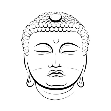 Drawing Buddha Head. Vector illustration Illustration