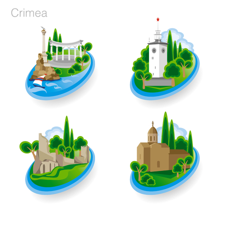 Landmarks of Crimea. Set of color icons. Drawing vector illustration