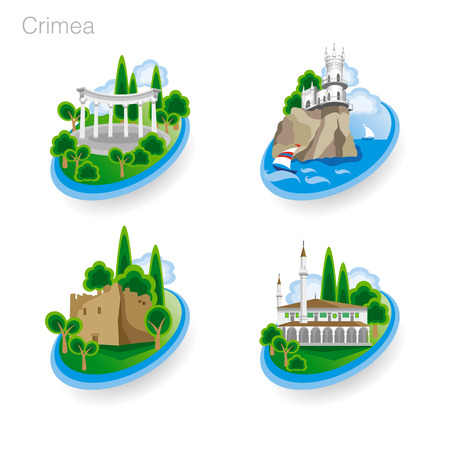 ruins: Landmarks of Crimea. Set of color icons. Drawing vector illustration